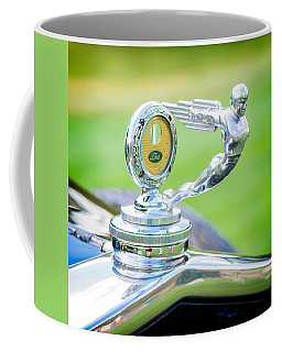 Coffee Mug featuring the photograph 1931 Ford Model A Deluxe Fordor Hood Ornament by Sebastian Musial