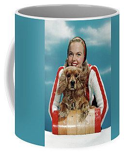 1940s 1950s Smiling Woman On Wooden Coffee Mug