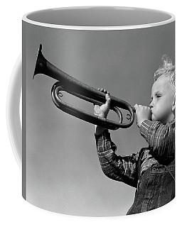 1940s Boy Blowing Bugle Outdoor Coffee Mug