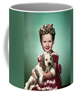 1940s Portrait Smiling Girl Wearing Red Coffee Mug