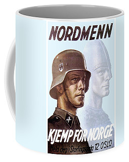 1943 - German Waffen Ss Recruitment Poster - Norway - Color Coffee Mug