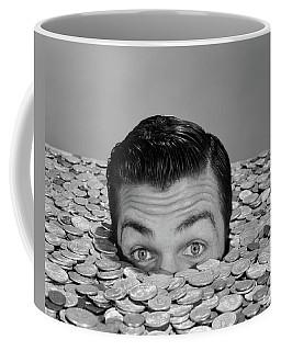 1950s 1960s Funny Man Buried Up To Eyes Coffee Mug