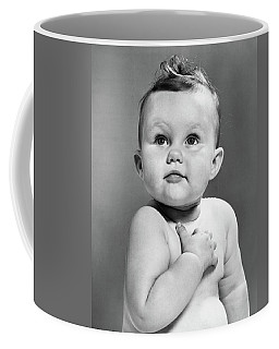 1950s Baby Looking Up Holding Right Coffee Mug