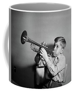 1950s Boy Playing Trumpet Horn Coffee Mug