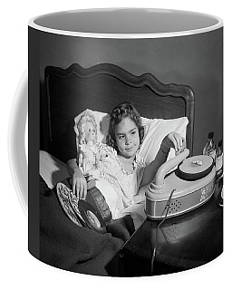 1950s Girl Sick In Bed Playing Records Coffee Mug