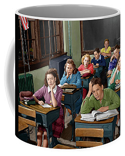 1950s High School Classroom Of Bored Coffee Mug