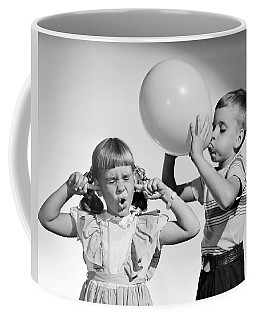 1950s Little Boy Blowing Up Big Balloon Coffee Mug