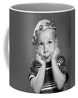 1950s Portrait Of Boy Resting Head Coffee Mug
