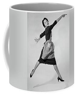 1950s Woman Housewife In Gingham Apron Coffee Mug