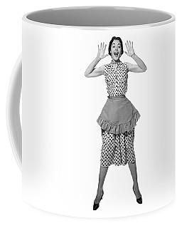1950s Woman In Apron Jumping Coffee Mug