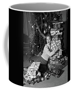 1950s Young Smiling Woman Sitting Coffee Mug