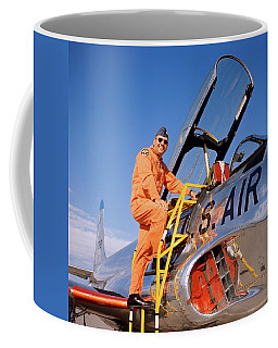 1960s 1970s Smiling Military Pilot Coffee Mug