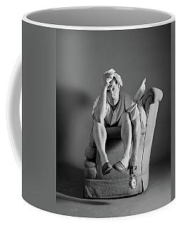 1960s Exhausted Sleepless Man Sitting Coffee Mug