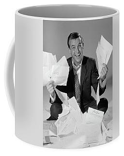 1960s Happy Businessman Sitting Coffee Mug