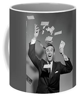 1960s Happy Man Throwing Money Currency Coffee Mug