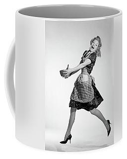 1960s Laughing Blonde Woman Coffee Mug