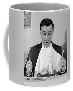 1960s Man Sitting At Table Ready To Eat Coffee Mug