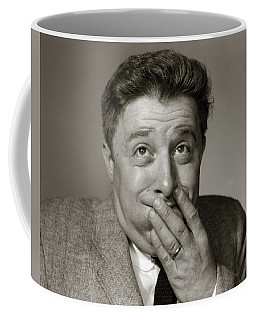 1960s Portrait Of Man With Fingers Coffee Mug