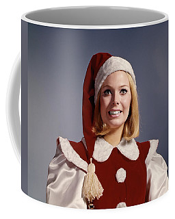 1960s Woman Christmas Santa Helper Coffee Mug