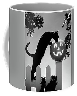 1970s Black Cat And Jack-o-lantern Coffee Mug