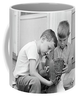 1970s Two Boys Seriously Inspecting New Coffee Mug