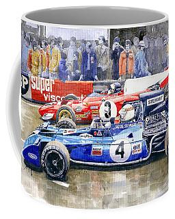 1972 French Gp Jackie Stewart Tyrrell 003  Jacky Ickx Ferrari 312b2  Coffee Mug