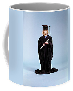 1980s Little Girl Wearing Too Big Coffee Mug