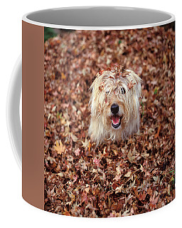 1990s Dog Covered In Leaves Coffee Mug