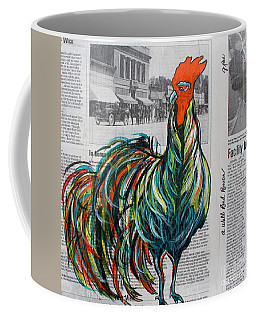 Coffee Mug featuring the painting A Well Read Rooster by Janice Rae Pariza