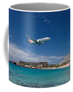 American Airlines At St Maarten Coffee Mug by David Gleeson