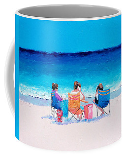 Beach Painting 'girl Friends' By Jan Matson Coffee Mug by Jan Matson