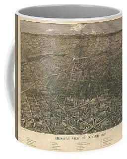 Birdseye Map Of Denver Colorado - 1887 Coffee Mug by Eric Glaser