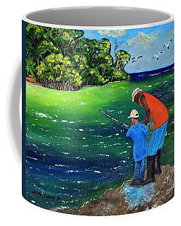Coffee Mug featuring the painting Fishing Buddies by Laura Forde