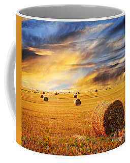 Golden Sunset Over Farm Field With Hay Bales Coffee Mug