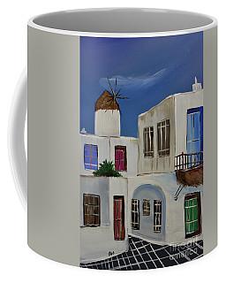 Coffee Mug featuring the painting Greek Village by Janice Rae Pariza