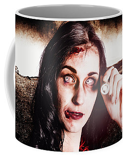 Infected Woman Searching Field During Zombie Apocalypse Coffee Mug
