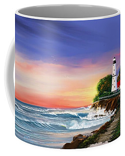 Lighthouse On The Cliff Coffee Mug by Anthony Fishburne