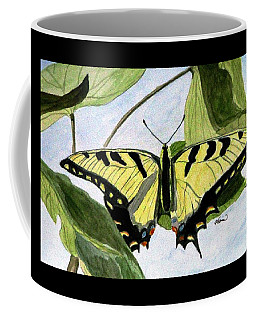 Coffee Mug featuring the painting Male Eastern Tiger Swallowtail by Angela Davies