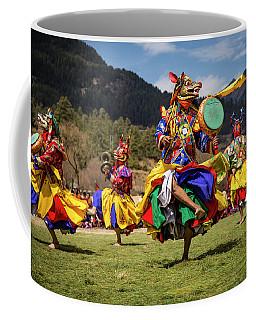 Masked Bhutanese Cham Dancers Coffee Mug