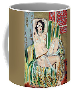 Matisse's Odalisque Seated With Arms Raised In Green Striped Chair Coffee Mug by Cora Wandel