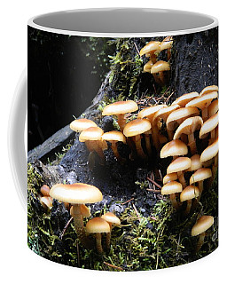 Coffee Mug featuring the photograph Mushrooms On A Stump by Chalet Roome-Rigdon