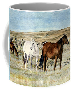 Coffee Mug featuring the painting Nine Horses by Melly Terpening
