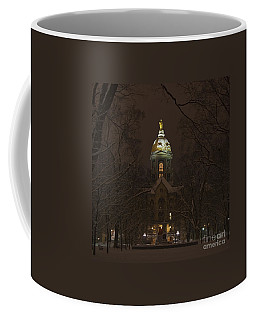 Notre Dame Golden Dome Snow Coffee Mug by John Stephens