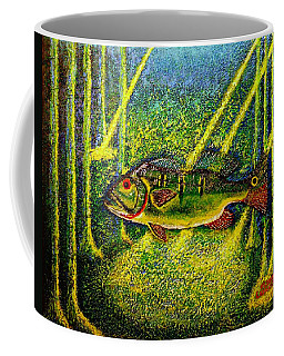 Coffee Mug featuring the painting Peacock Bass.sculpture. by Viktor Lazarev