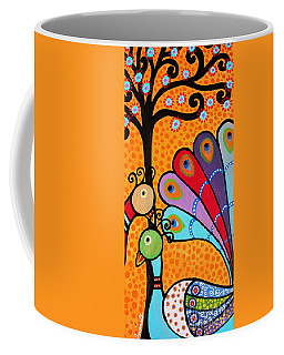 Coffee Mug featuring the painting 2 Peacocks And Tree by Pristine Cartera Turkus