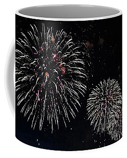 Coffee Mug featuring the photograph Pink Fireworks by Lilliana Mendez