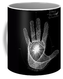 Coffee Mug featuring the drawing Quantum Hand Through My Eyes by Jason Padgett