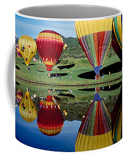 Reflection Of Hot Air Balloons Coffee Mug
