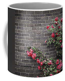 Roses On Brick Wall Coffee Mug