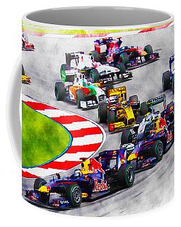 Sebastian Vettel Leads The Pack Coffee Mug